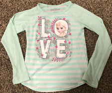 Girls Disney Frozen White and Teal Striped Shirt Medium 7/8