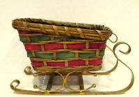 Christmas Basket Sleigh metal Runners Vintage Holiday Santa  Decor