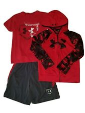 Lot Of 3 UNDER ARMOUR BOY'S sz 7 HOODIE small T-SHIRT & XS SHORTS RED BLACK Gray