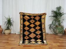 """Moroccan Vintage Handmade wool rug Bohemian Berber 3'2""""x4'6"""" Taznakht tribe rug"""