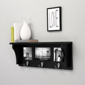 Pemberly Row  Contemporary  Riley Collage Shelf  3 Hooks Black Engineered Wood