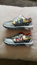 BNIB Boys Spiderman Trainers Shoes Kids Running Black/Gold Size 30