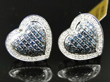 10K White Gold Blue/White Diamond Heart Shape Stud Earrings 14 mm