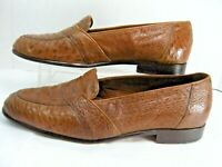 Daniele Ferradini Ostrich Mens Loafers Dress Shoes Sz 9.5 D Brown Made Italy #37