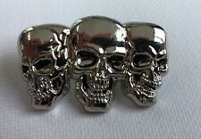 Metal Enamel Pin Badge Brooch Skull Trio Three Skulls in a Row