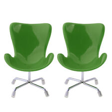 2pcs 1/6 Dollhouse Miniature Plastic Swan Chair Model Green Furniture Toy