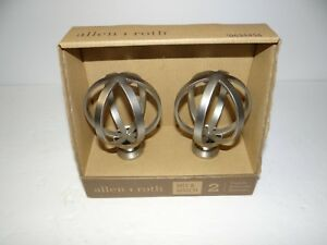 Allen & Roth Brushed Nickel Finials 1 Pair Curtain Rod Finials