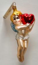 New ListingChristopher Radko Ornament Love Is In The Air Cupid Cherub Angel Holding Heart
