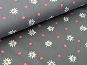 Baumwolljersey Blume Margeriten Herz Grau Meterware Stoff Blumen