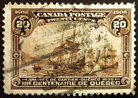 Canada #103 20c Brown 1908 Quebec Tercentenary Issue VF Used Rare