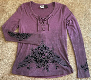 Harley Davidson Genuine Motor Clothes Womens S Tie Front Bedazzled Velvet Blouse