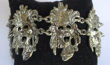 bracelet ancien bijou vintage rare originale maillon masque couleur argent 282