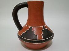 Vintage Leopoldo De Mexico Redware Pottery Vase Jug Aztec Design Green Interior