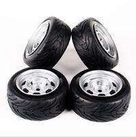4PCS Rubber Tires W/ Foam & Wheel Rims For HSP HPI RC 1/10 On-Road Racing Car