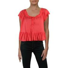 Free People Womens Charlie Ruffled Relaxed Blouse T-Shirt Top BHFO 3528