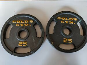 """25 Lb Golds Gym 2"""" Olympic Grip Weight Plates Set Of 2 - 50 lb Total"""