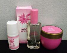Set Avon Sweet Honesty Eau de Cologne Spray 1.7oz Perfumed Cream 6oz & Deodorant