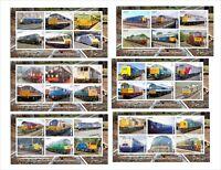 2015 BRITISH LOCOMOTIVES TRAINS 11 SOUVENIR SHEETS MNH UNPERFORATED RAILROAD