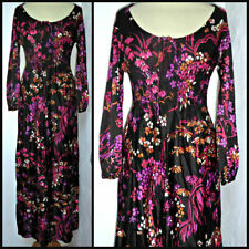 VINTAGE 60S 70S PSYCHEDELIC FLOWERS MAXI DRESS UK 8 10 BOHO PARTY GLAM