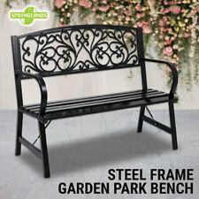 Park Bench Steel Frame, Outdoor Garden Seat, Timber Chair Furniture Black