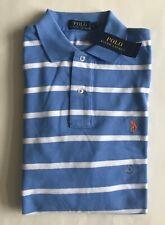 $90 NWT Mens Polo Ralph Lauren Blue White Striped Mesh Short Sleeve Shirt S