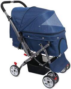 Blue 4 Wheel Reversible Forward Rear Facing Pet Dog Cat Stroller Pushchair Buggy