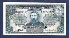 (DN) Paraguay 5 Guaranies 1952 P-186c SC UNC