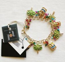 $215 Rosantica Hawaii Themed Multi Gold-Tone Enamel Charm Bracelet Hawaiian