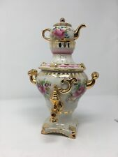 Vintage Russian Gzhel Porcelain And Gold  Samovar Topped With Teapot .