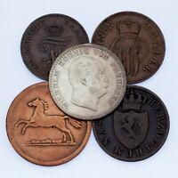 Lot of 5 German States Coins 1832 - 1872 VF - XF Condition
