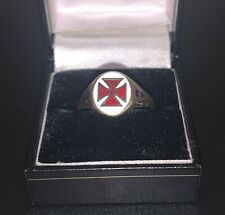 More details for authentic vintage knights templar 9ct gold ring enamel cross masonic uk size z