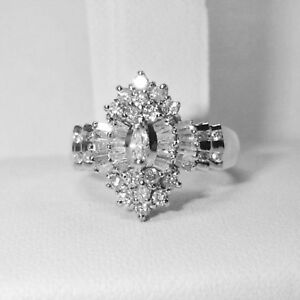 Summer 2.00 Ct Diamond 14K Gold Over Marquise Cluster Engagement Wedding Ring