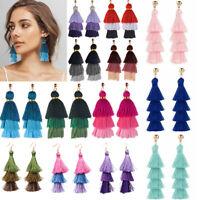 Long Tassel Fringe Multilayer Earrings Drop Dangle Women Boho Bohemian Jewelry