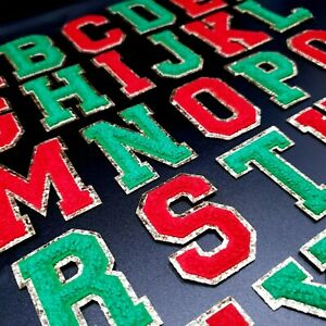 Christmas Chenille Patch Letter Patches Iron on Retro Alphabet Embroidery Gold