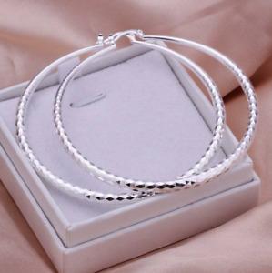 925 Sterling Silber Ohrringe Kreolen Creolen groß 65 mm runde Form