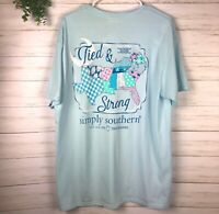 NWT Women's Simply Southern T-Shirt Tied & Strong Graphic Blue Short Sleeve Sz M