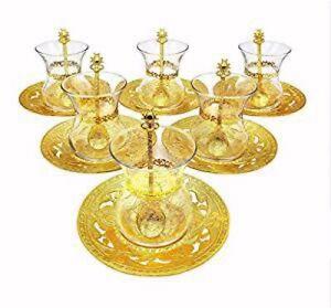 Traditional Turkish Style Tea Set 6 Embellished Glass Cups + Saucers + Teaspoons