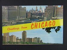 Chicago Illinois IL River View Oak Street Beach Gold Coast Postcard 1950s