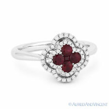 Right-Hand Flower Ring in 18k White Gold 0.65 ct Red Ruby Cluster & Diamond Pave