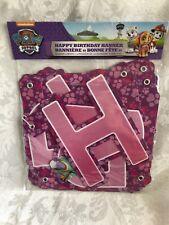 Pink Paw Patrol Sky Happy Birthday Banner Hanging Decoration Party Supply NIB