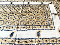 """AGHABANI EMBROIDERED TABLECLOTH Gold & BLUE Silk on White  94x59"""" Approx."""