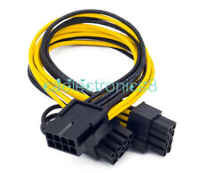 EPS CPU 12V 8 Pin to Dual 8 (6+2) Pin PCIE Adapter Power Supply 20cm Cable NEW