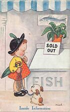 POSTCARD   COMIC    CHILDREN  Little  Girl  Dog                 Tuck
