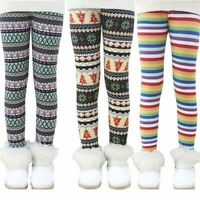 New Baby Kids Girls Winter Warm Thick Fleece Leggings Lined Long Trousers Pants