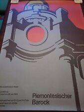 Swiss Art Exhibition Poster, Original 1964 Piemontesischer Barock, 36x50