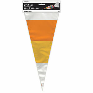 20 Candy Corn Cone Shaped Cello Bags Clear Plastic Halloween Birthday Party