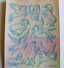 Rare Vintage 80's Hallmark Pearly Unicorn Pegasus Sticker Sheet MOP Opal Pearl