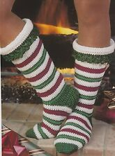 Crochet Pattern ~ Ladies Candy Cane Stockings Christmas Socks ~ Instructions