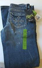 Rock 47 Wrangler Women's Distressed Ultra Low Rise Precious Jewel Jeans 5x32