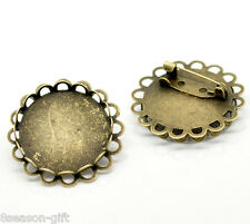 50 Bronze Tone Round Cabochon Frame Setting Brooches 32mm(Fit 25mm)